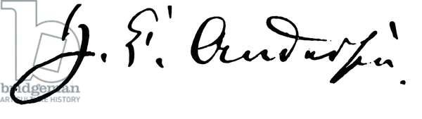 HANS CHRISTIAN ANDERSEN (1805-1875). Danish author. Autograph signature.
