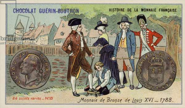 Bronze coins of Louis XVI, 1788 (chromolitho)