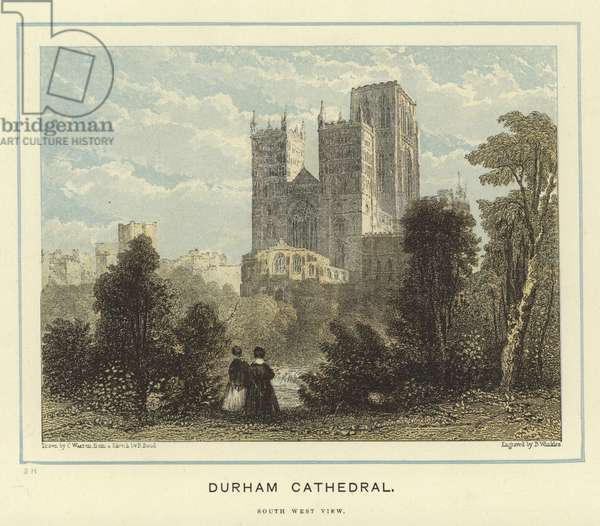 Durham Cathedral, south west view (colour litho)