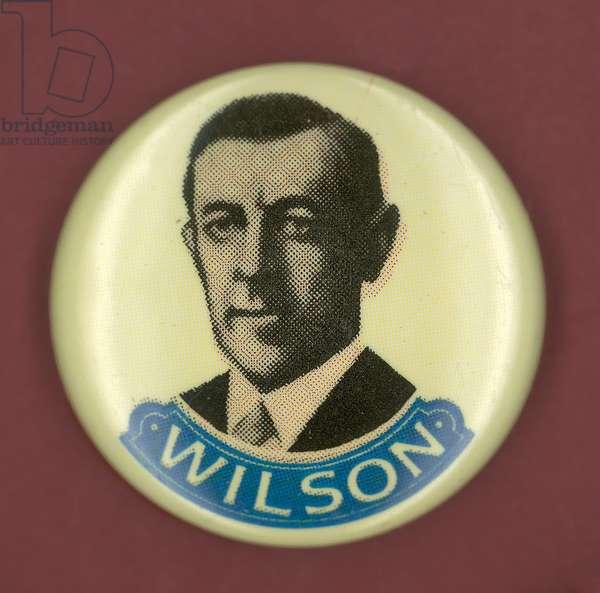 WILSON CAMPAIGN BUTTON Democratic presidential campaign button from Woodrow Wilson's 1916 bid for president.