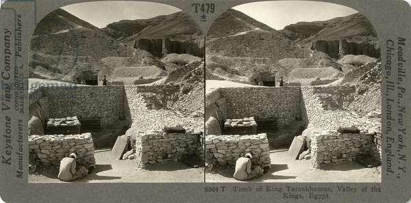 TOMB OF TUTANKHAMUN 'Tomb of Tutankhamun, Valley of the Kings, Egypt.' Stereograph, c.1922.