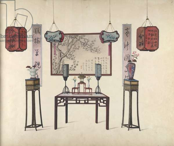 A table and vases, 1800-10 (opaque w/c on paper)