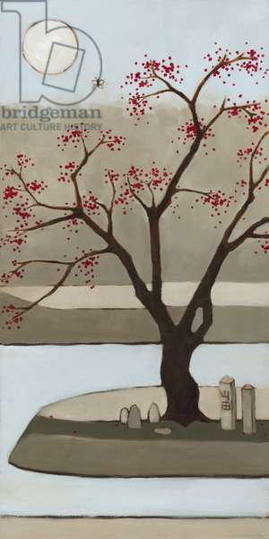 Cherry Tree, Winter, 2013, (oil on wood panel)