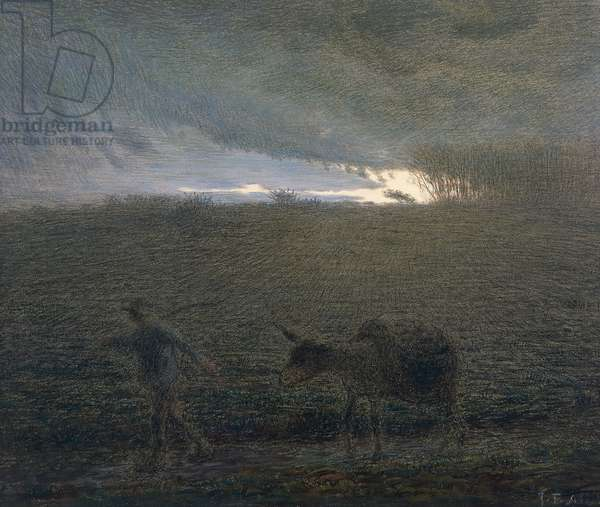 The man and the donkey, by Jean-Francois Millet (1814-1875).