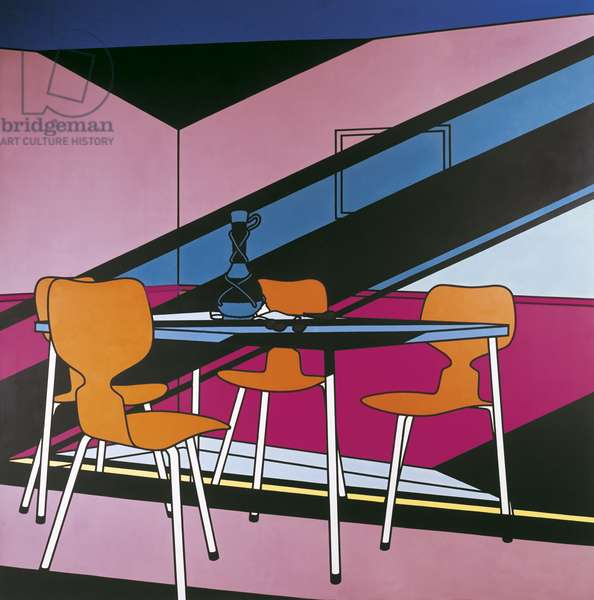 Cafè Interior: Afternoon, by Patrick Caulfield, 1973, 29th Century, acrylic on canvas, 213 x 213 cm