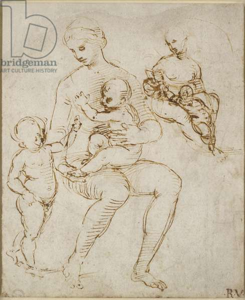 Recto: Two Studies for a Virgin and Child with St John (The Madonna del Cardellino), WA1846.159 (pen & brown ink over some blind stylus)
