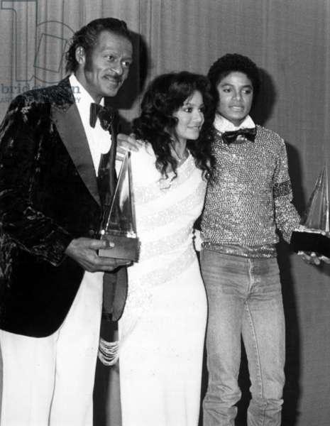 Chuck Berry, Latoya Jackson and Michael Jackson at American Music Awards January 1981 (b/w photo)