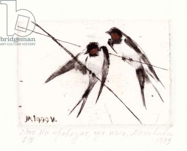 Birds on Wire, 1999 (drypoint)