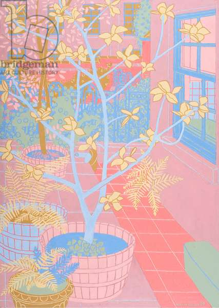 Trees and Cast Iron Railings, 2009 (oil on board)
