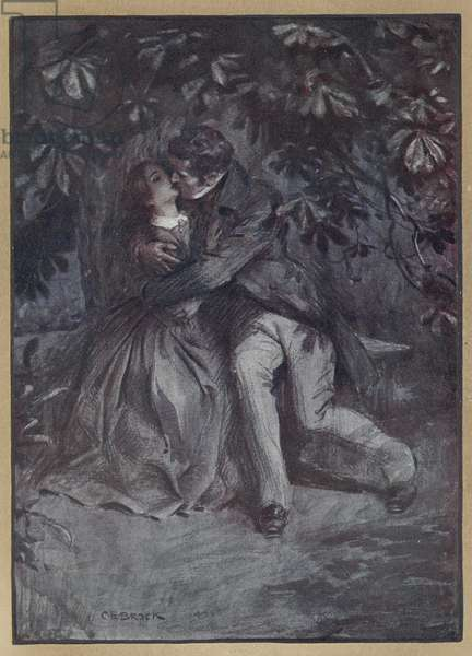 Jane Eyre and Mr. Rochester embracing