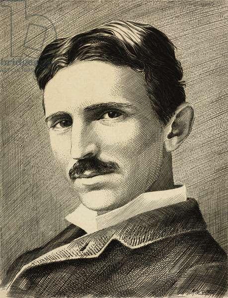 Portrait of Nikola Tesla (1856-1943), Serbian-American inventor, electrical engineer and physicist