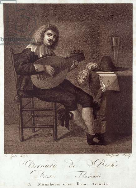 Lutenist seated at  table