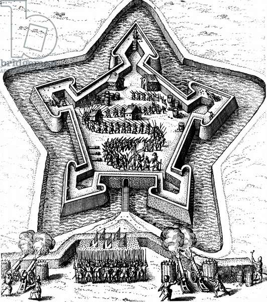 Star Fort defended by moat coming under siege. From Robert Fludd Utriusque cosmi ... historia Oppenheim 1617-1619. Engraving