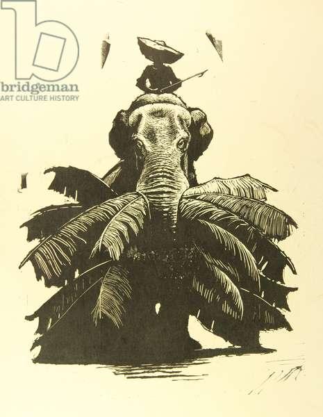Working Elephant, 1962 (linocut)
