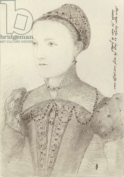 Mary Queen of Scots as a young woman (engraving)