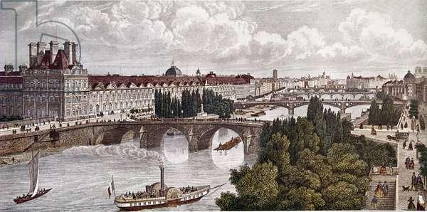 France, Paris, Bridges Over Seine, by Claude Chamouin, 19th century