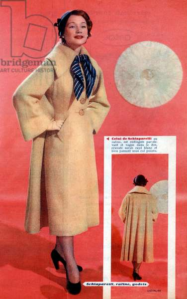 French advertisement for a yellow coat by Elsa Schiaparelli, 1937