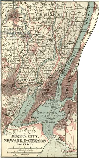 Map of Jersey City, Paterson and Newark