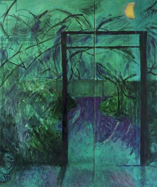 Moonlit Garden(oil on canvas)