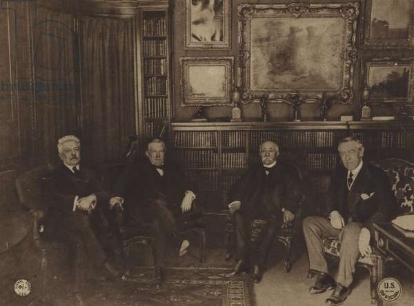 America in World War I: The Big Four, L to R: Orlando, premier of Italy; Lloyd George, prime minister of England; Clemenceau, premier of France, and President Wilson (b/w photo)