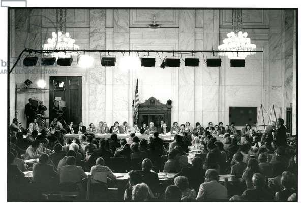 The Senate Caucus Room during the Senate Watergate hearings, September 24, 1973 (b/w photo)