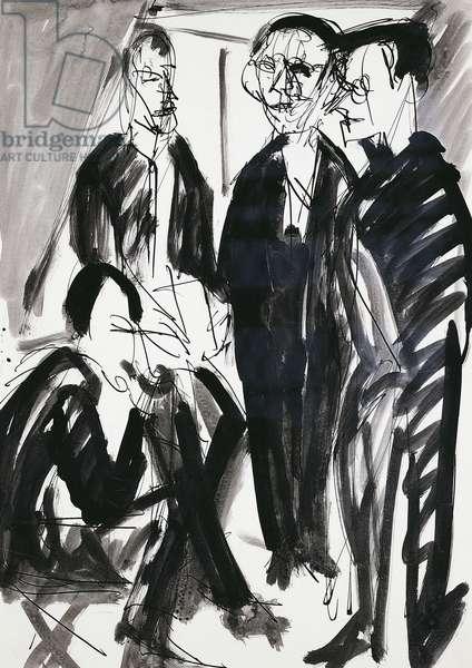 Artist and Die Brucke (The Bridge) group in Dresden, by Ernst Ludwig Kirchner (1880-1938), 1925-1926