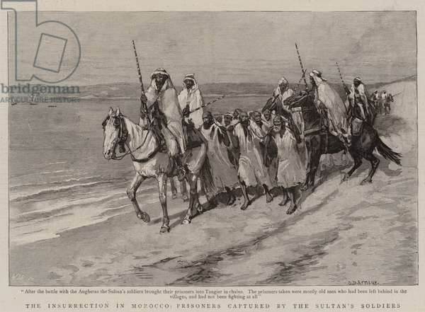 The Insurrection in Morocco, Prisoners captured by the Sultan's Soldiers (engraving)