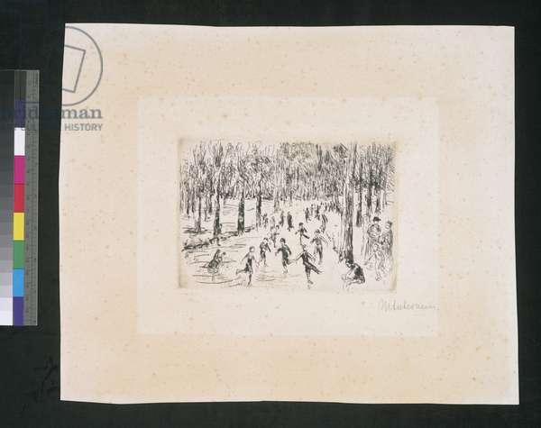Skaters in Tiergarten, c.1920 (etching & drypoint)