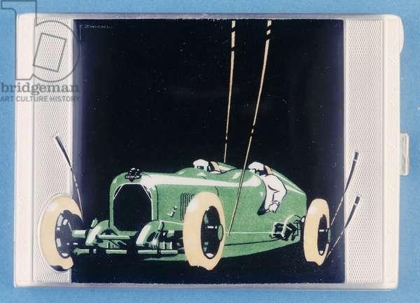 Cigarette case depicting a Salmson racing car, c.1920 (white metal & enamel)