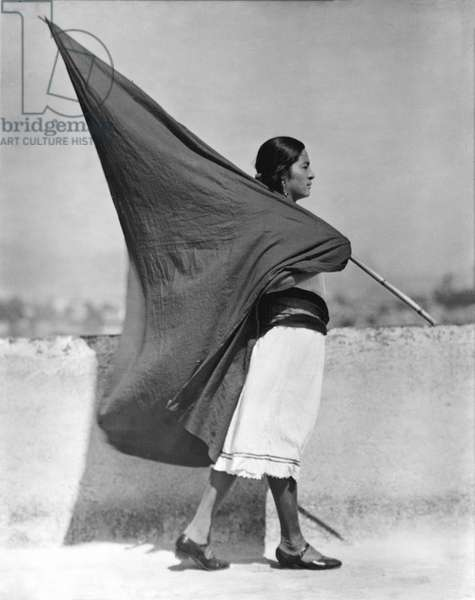 Woman with Flag, Mexico City, 1928 (b/w photo)
