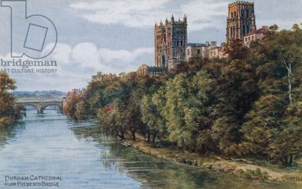 Durham Cathedral, from Prebends Bridge (colour litho)