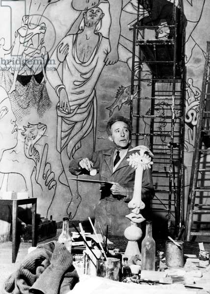 Jean Cocteau Working at The Villefranche-Sur-Mer Chapel Fresco 1957