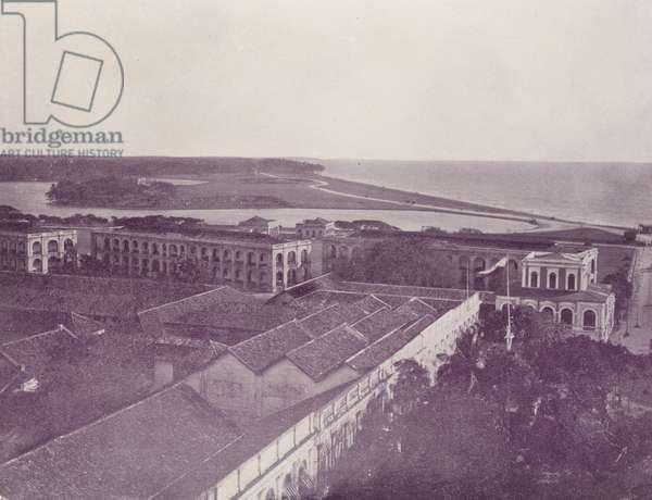 Galle Face and Barracks, Colombo, Ceylon (b/w photo)