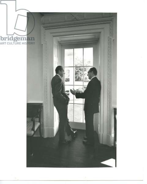 President Nixon and Henry Kissinger by the Oval Office Door, 10th February, 1971 (b/w photo)