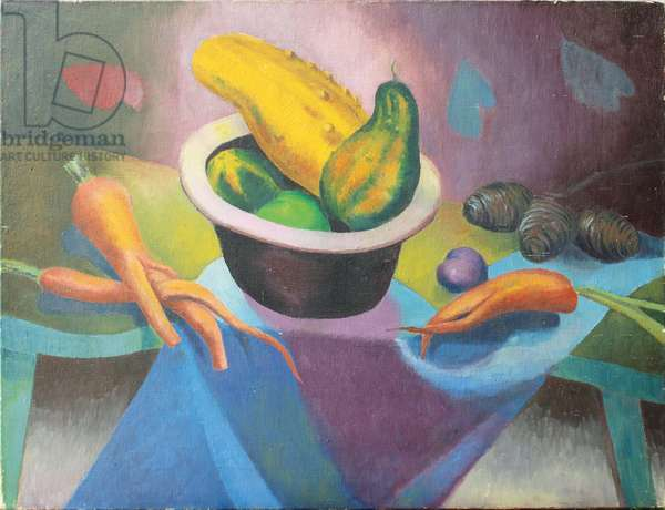 Still Life of Gourds and Carrots (oil on canvas)