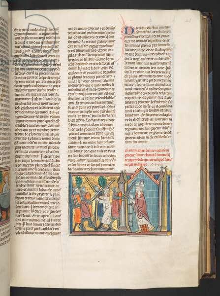 Murder of Thomas Becket, from Vie des Saints, Add. 17275, f.146, 1325-40 (vellum)