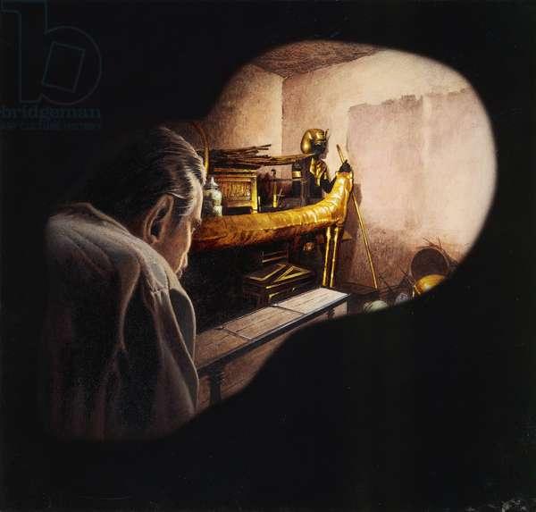 Egypt, Howard Carter enters burial chamber at Tutankhamens tomb, illustration