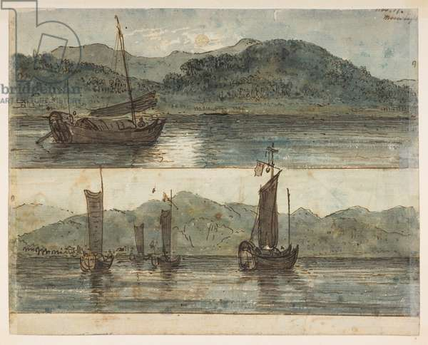 146v River scene. 'Moonlight Nov 17.', from an Album of 372 drawings of landscapes, coastlines, costumes and everyday life made during Lord Macartney's embassy to the Emperor of China, between 1792 and 1794 (pencil & w/c on paper)