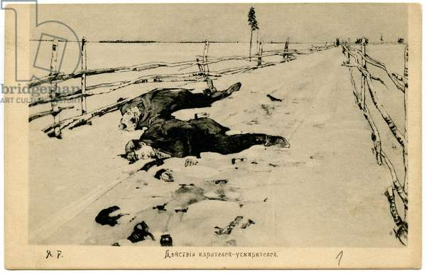 Russian Postcard From the 1905 Revolution Depicting the Aftermath of a Punitive Expedition, 1906