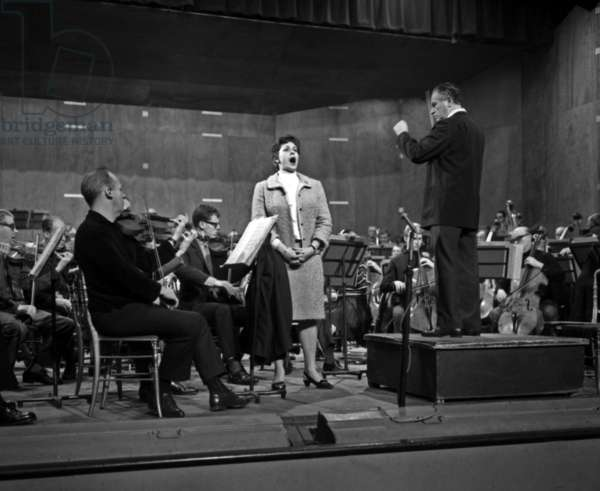 Swedish soprano Elisabeth Soderstrom and conductor Antal Dorati in rehearsal at the Salle Pleyel, Paris, 24th October 1966 (b/w photo)