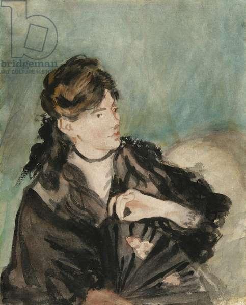Portrait of Berthe Morisot, 1873-74 (w/c over traces of graphite, on off-white wove paper)