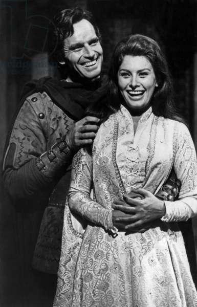 Sophia Loren and Charlton Heston on Set of Film El Cid 1961 (b/w photo)