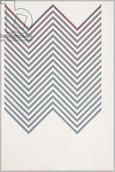 Chevron Using Red, Turquoise, Grey, 1967 (pencil & bodycolour on paper)