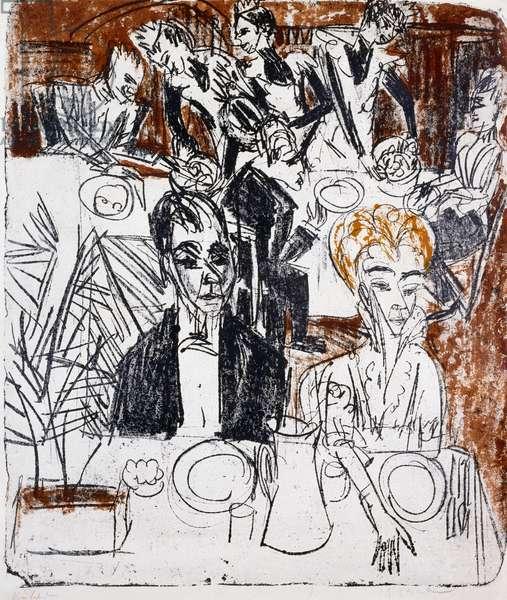 Laid table, 1916 (colour litho)