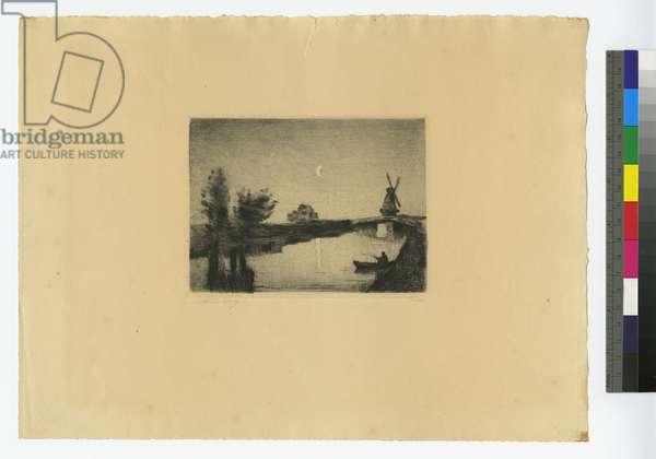 Moonlit Dutch Landscape, 1923 (etching)