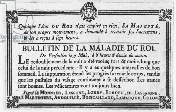 Medical bulletin about the illness of Louis XV (engraving)