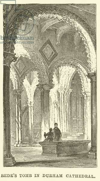 Bede's Tomb in Durham Cathedral (engraving)