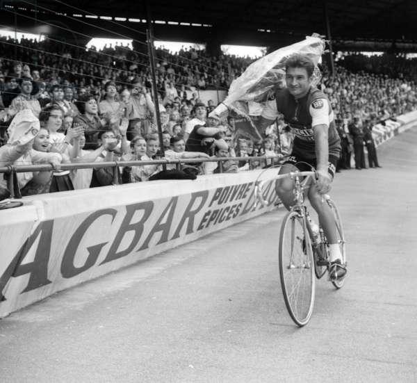 Arrival of Tour De France at Parc Des Princes in Paris on July 23, 1967 : Raymond Poulidor, Winner of The Leg (b/w photo)