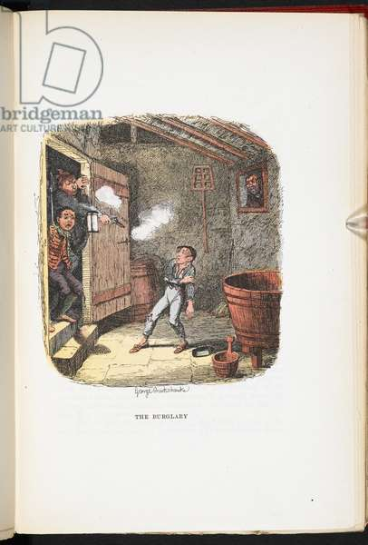 The Burglary, from The Adventures of Oliver Twist ... With twenty-four illustrations by Cruikshank, 1911 (colour litho)