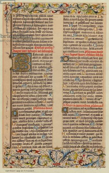 Facsmile from the Gutenberg Bible (colour litho)